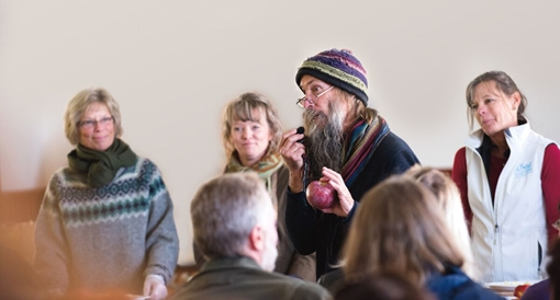 Zeke Goodband speaks at Heirloom Apple Day at Scott Farm Orchard in Dummerston VT