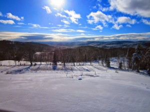 Winter view from Galusha Hill Farm Lodge in East Topsham VT