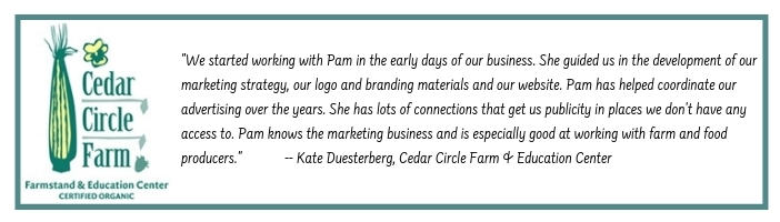 Testimonial by Kate Duesterberg of Cedar Circle Farm for Pam Knights Communications