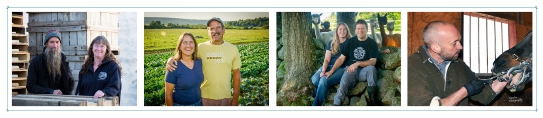 Images of the owners of Scott Farm Orchard, Golden Russet Farm, Cas-Cad-Nac Farm and MacPhail Equine Dentistry all clients of Pam Knights Communications
